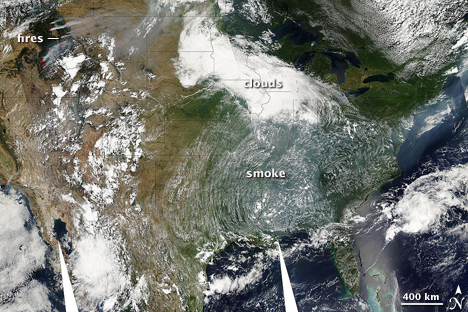 Smoke from western wildfires covered much of the United States on August 4, 2007. (NASA image by Holli Riebeek and MODIS Rapid Response.)