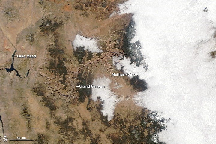 NASA MODIS image courtesy Jeff Schmaltz LANCE/EOSDIS MODIS Rapid Response Team, GSFC. Mather Point photograph courtesy Grand Canyon National Park. GOES images courtesy NOAA-NASA GOES Project. NASA Earth Observatory animation by Robert Simmon. Caption by Holli Riebeek.