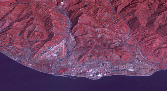 ASTER satellite image of the 2014 Sochi Winter Olympic Games Coastal Cluster, the site for arena sports and the opening and closing ceremonies. Image credit: NASA/GSFC/METI/ERSDAC/JAROS, and U.S./Japan ASTER Science Team