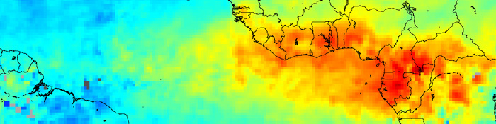 Carbon monoxide from African fires, February 2004