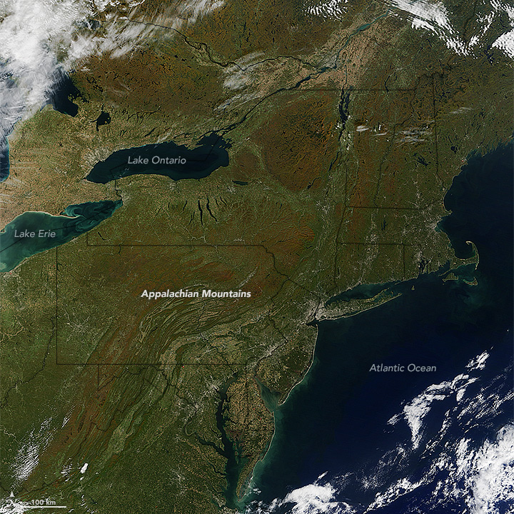 Fall colors on eastern seaboard as seen by Terra MODIS