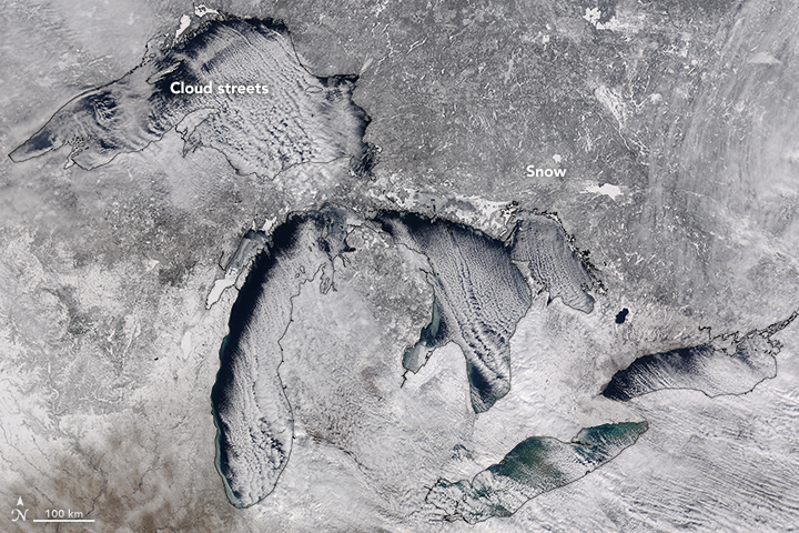 MODIS image of cloud streets over the Great Lakes.