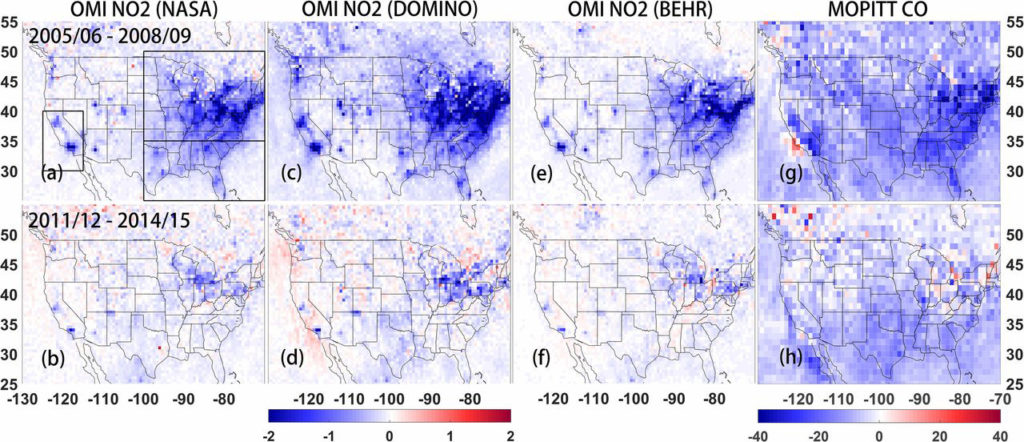NO2 and CO mean differences  maps
