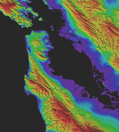 GDEM3 shaded relief topography of San Francisco