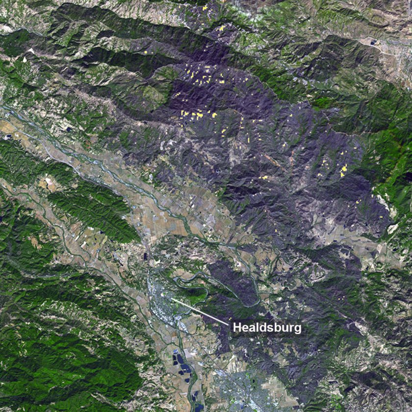 ASTER image of the Kincade Fire in California.